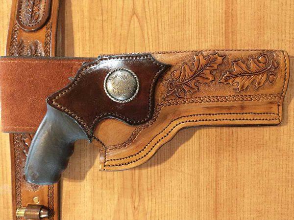 Western Style Belt Holster - With Gun