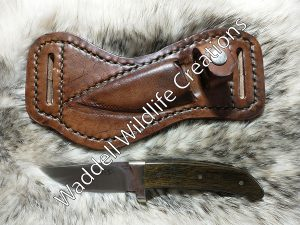 Horizontal Carry Buck Knife Sheath with Knife