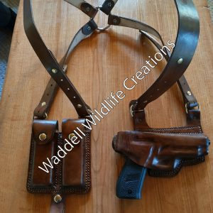 Shoulder Holster for Semi Auto Handgun with Double Magazine Sheath
